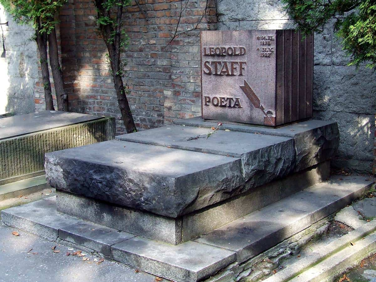 Grób Leopolda Staffa - Cmentarz Powązki Warszawa