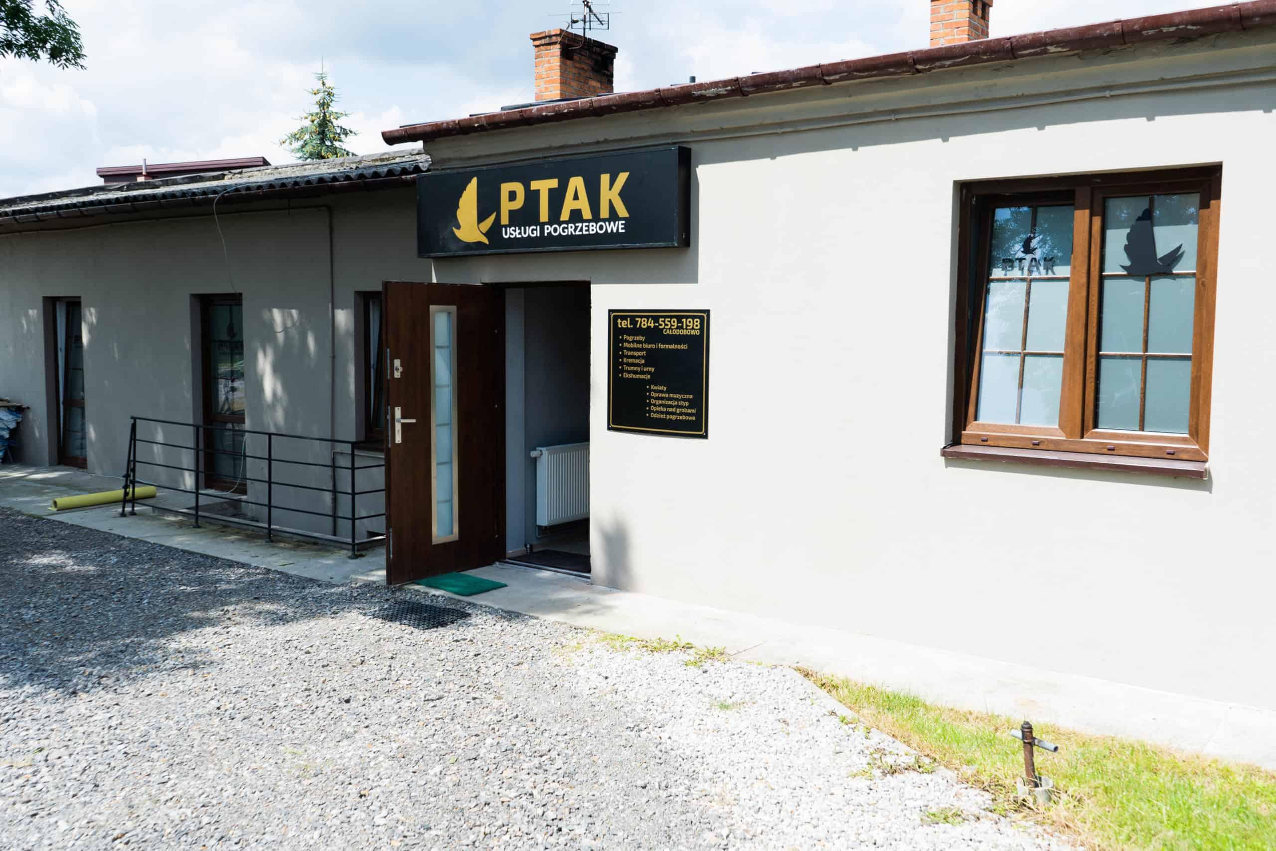 Główne biuro firmy pogrzebowej ptak