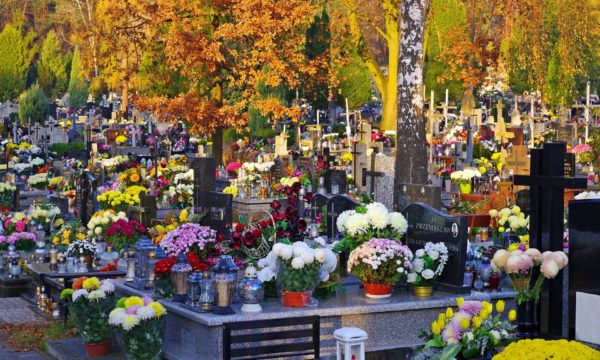 Bogato ozdobione groby na cmentarzu