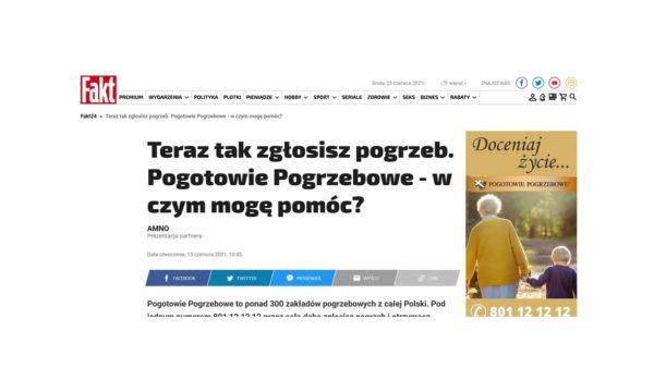 artykuł w Fakt.pl, Pogotowie Pogrzebowe w Fakcie