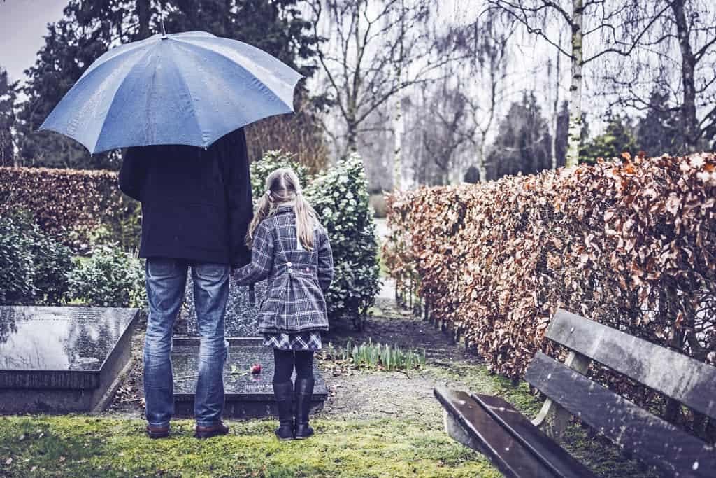 dziewczynka ztatą przy grobie nacmentarzu